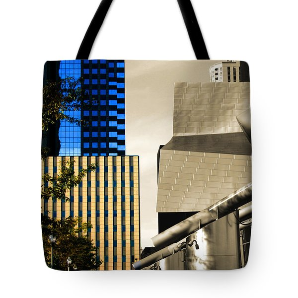 Architectural Crumpled Steel Gehry Tote Bag