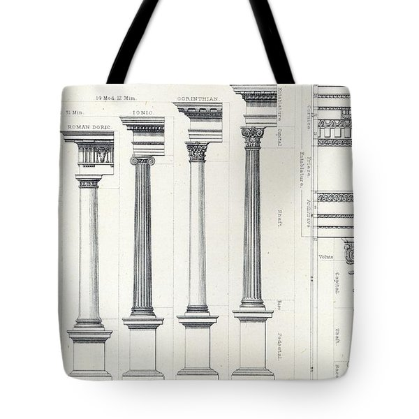 Architecture I Orders Of Architecture Engraved By Charles Lawrie Tote Bag by  John Burley Waring