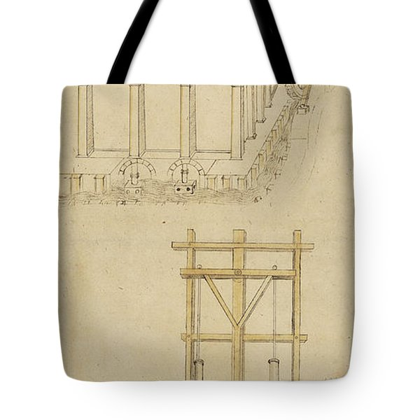 Architecture With Indoor Fountain From Atlantic Codex  Tote Bag by Leonardo Da Vinci