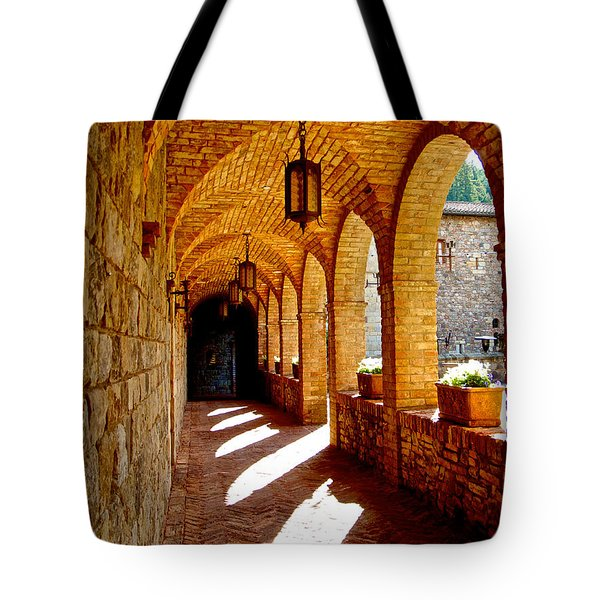 Archway By Courtyard In Castello Di Amorosa In Napa Valley-ca Tote Bag