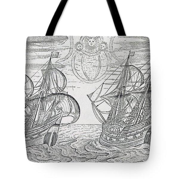 Arctic Phenomena From Gerrit De Veer S Description Of His Voyages Amsterdam 1600 Tote Bag by Netherlandish School