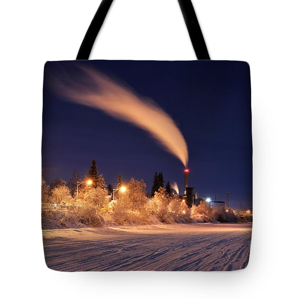 Arctic Power At Night Tote Bag by Gary Whitton