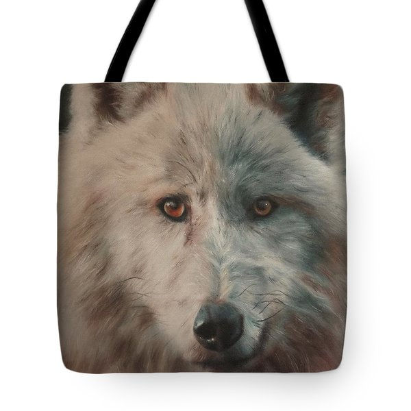 Arctic Wolf Tote Bag by Cherise Foster