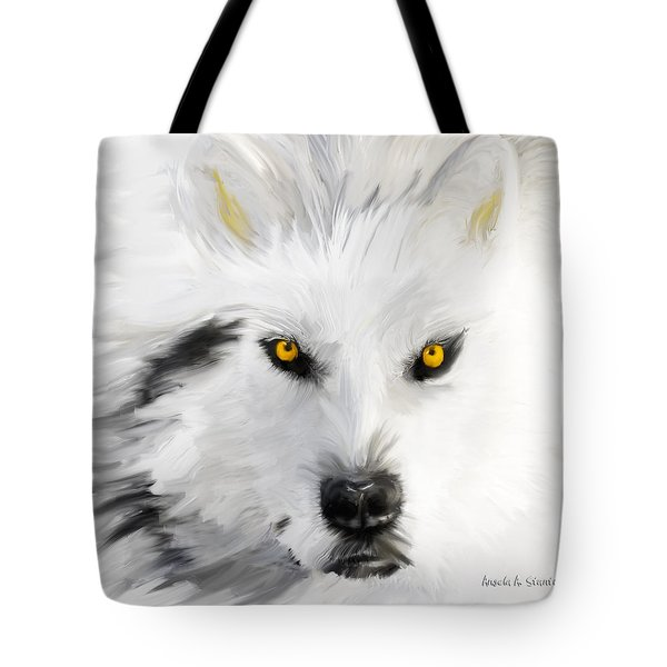 Arctic Wolf With Yellow Eyes Tote Bag by Angela A Stanton