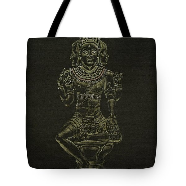 Tote Bag featuring the drawing Ardhanarishvara I by Michele Myers