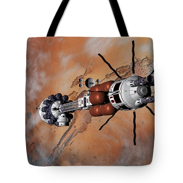 Tote Bag featuring the digital art Ares1 Within Range For Rendezvous by David Robinson