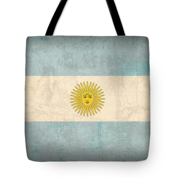 Argentina Flag Vintage Distressed Finish Tote Bag