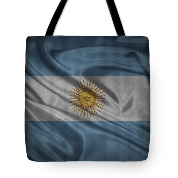 Argentinian Flag Waving On Canvas Tote Bag