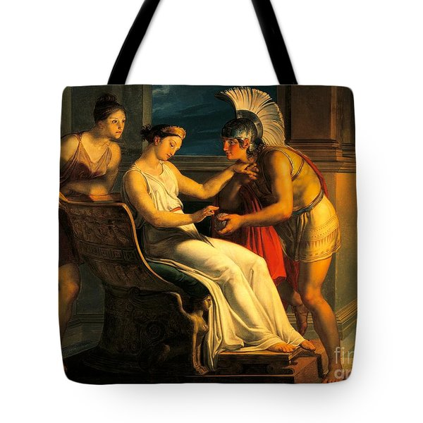 Ariadne Giving Some Thread To Theseus To Leave Labyrinth Tote Bag