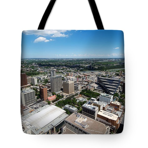 Arial View Of Calgary Facing North East Tote Bag by Lisa Knechtel