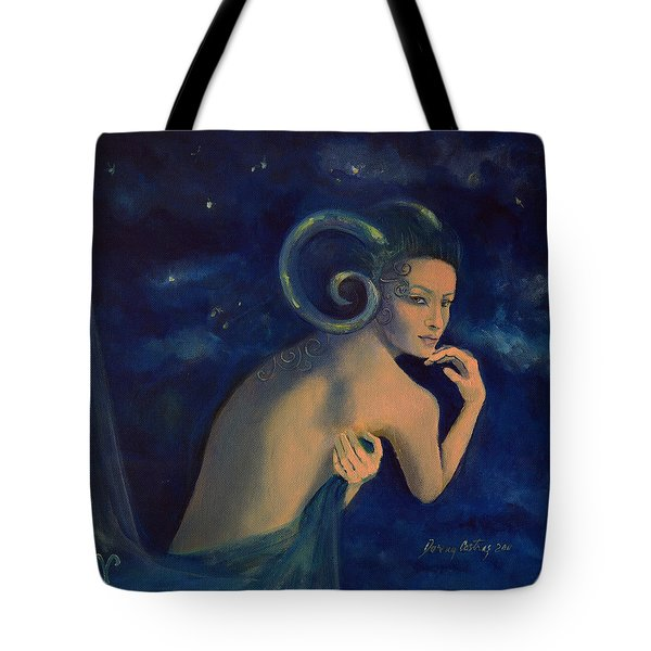 Aries From Zodiac Series Tote Bag by Dorina  Costras