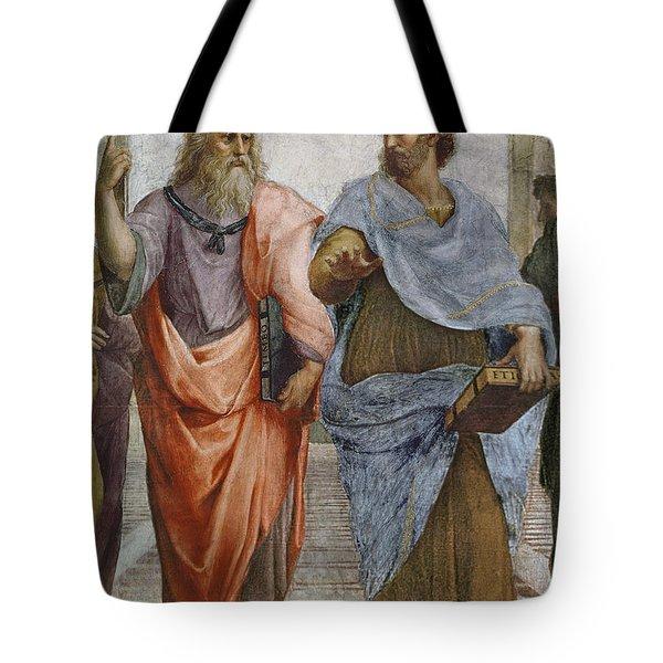 Aristotle And Plato Detail Of School Of Athens Tote Bag by Raffaello Sanzio of Urbino