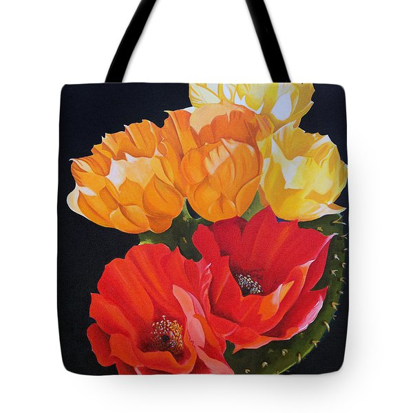 Arizona Blossoms - Prickly Pear Tote Bag by Debbie Hart