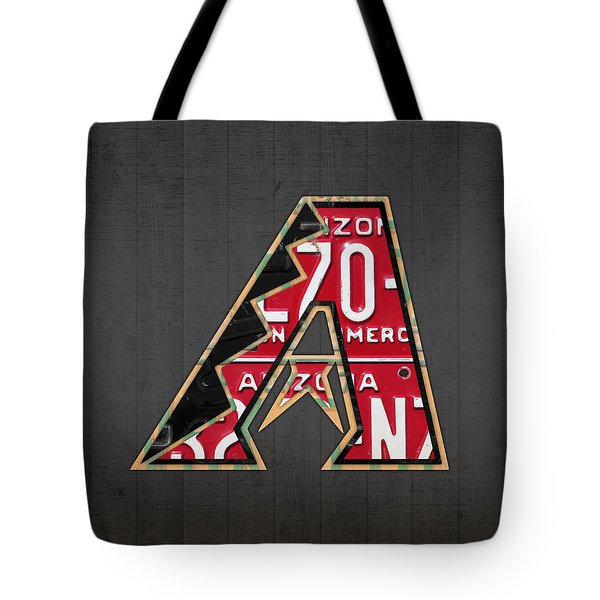 Arizona Diamondbacks Baseball Team Vintage Logo Recycled License Plate Art Tote Bag by Design Turnpike