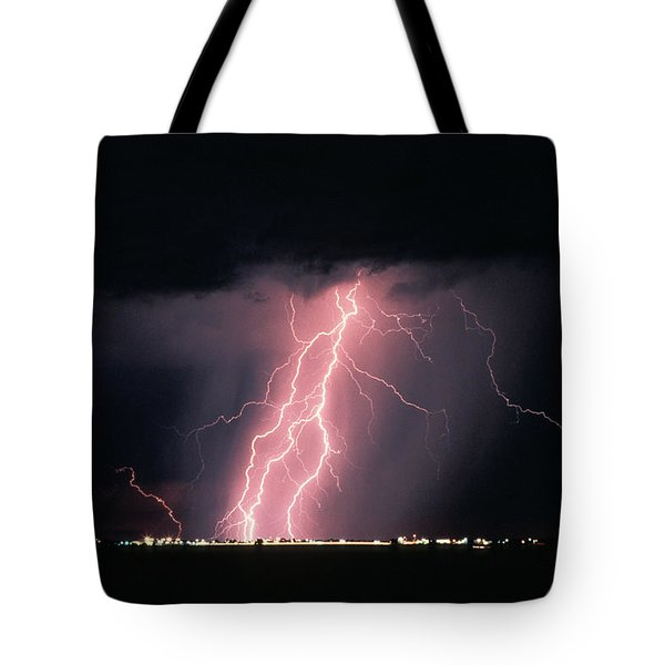 Arizona  Lightning Over City Lights Tote Bag by Anonymous