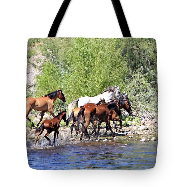 Arizona Wild Horse Family Tote Bag