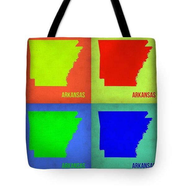 Arkansas Pop Art Map 1 Tote Bag by Naxart Studio