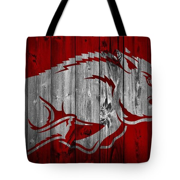 Arkansas Razorbacks Barn Door Tote Bag by Dan Sproul