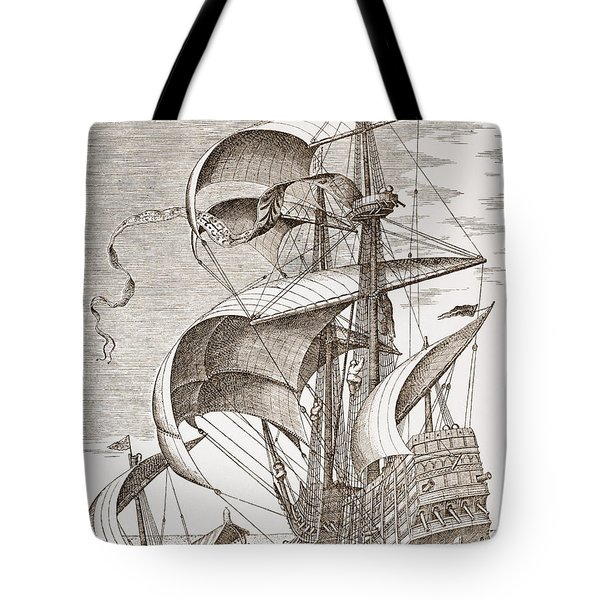 Armed Three-master On The Open Sea Tote Bag