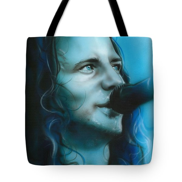 Eddie Vedder - ' Arms Raised In A V ' Tote Bag by Christian Chapman Art