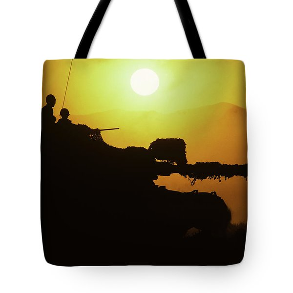 Army Tank With Camouflage In Training Tote Bag