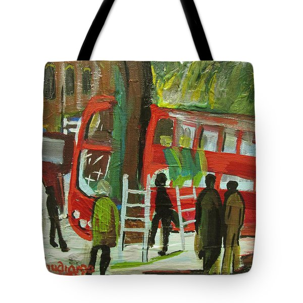Tote Bag featuring the painting Arriva London North Ltd. -  Destroyed My Life by Mudiama Kammoh
