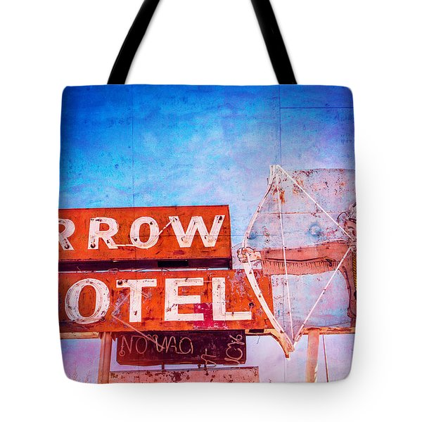 Tote Bag featuring the photograph Arrow Motel by Steven Bateson