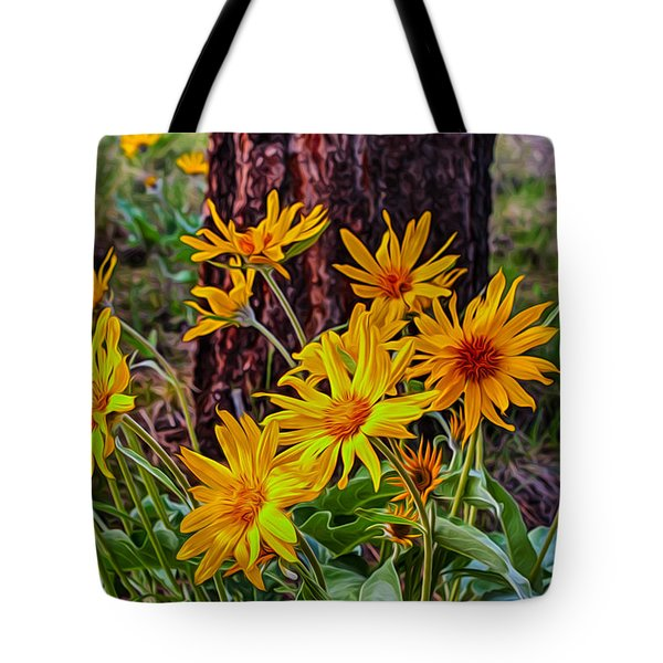 Tote Bag featuring the painting Arrowleaf Balsamroot by Omaste Witkowski