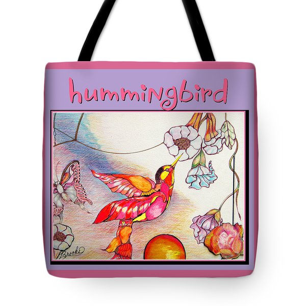 Tote Bag featuring the drawing Hummingbird And Flower by Brooks Garten Hauschild