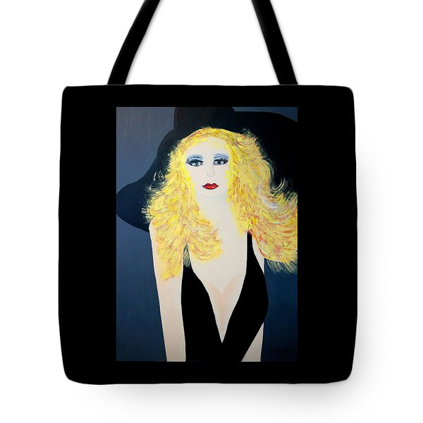 Art Deco Girl With Black Hat Tote Bag