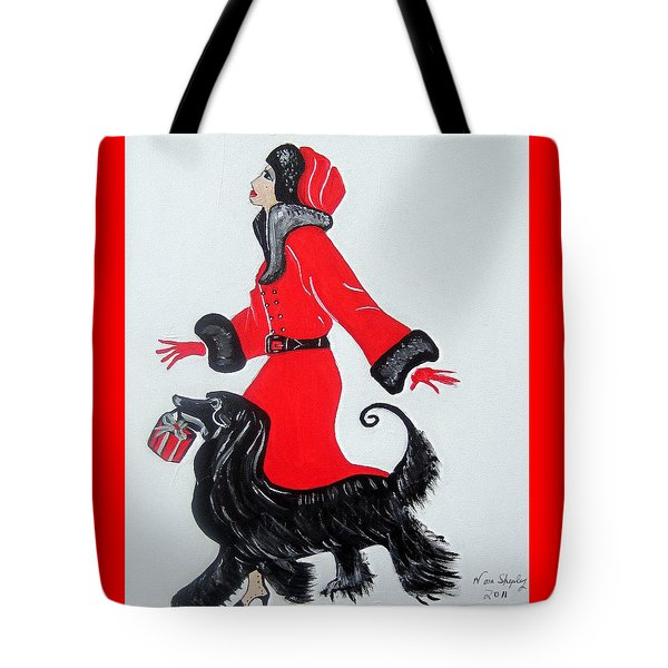 Art Deco  Girl With Red  Coat Tote Bag