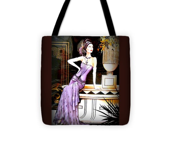 Art Deco Lady In Purple Tote Bag by The Creative Minds Art and Photography