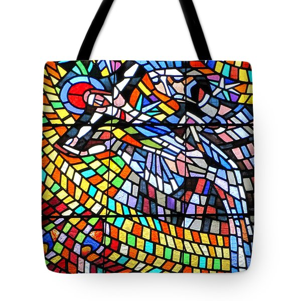 Art Nouveau Stained Glass Windows Ss Vitus Cathedral Prague Tote Bag by Christine Till