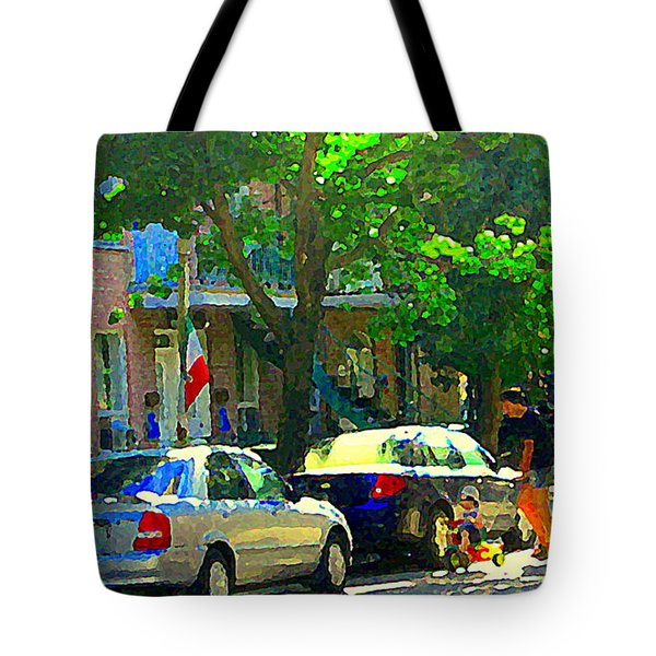 Art Of Montreal Day With Daddy And Yellow Wagon Zooming Our Streets Of Verdun Scene Carole Spandau  Tote Bag by Carole Spandau