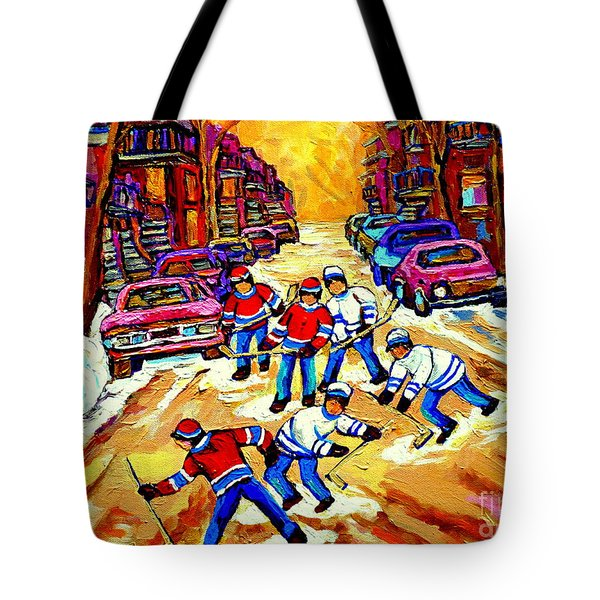 Art Of Montreal Hockey Street Scene After School Winter Game Painting By Carole Spandau Tote Bag by Carole Spandau