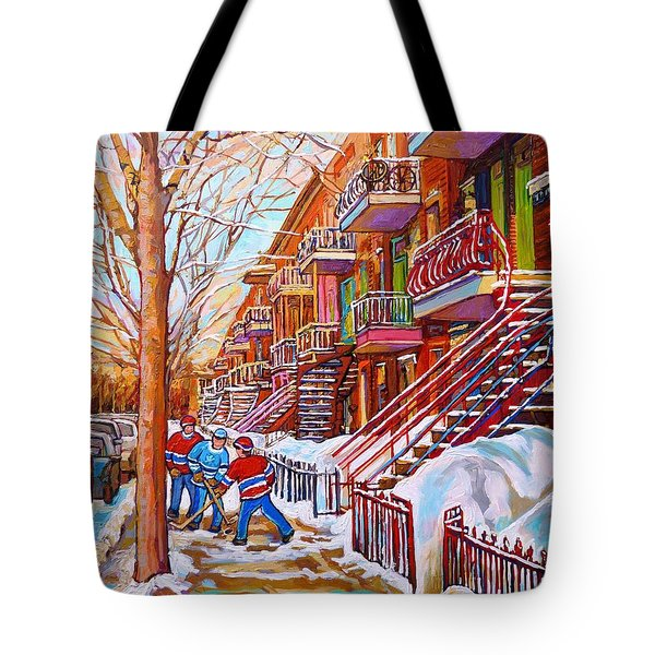 Art Of Montreal Staircases In Winter Street Hockey Game City Streetscenes By Carole Spandau Tote Bag