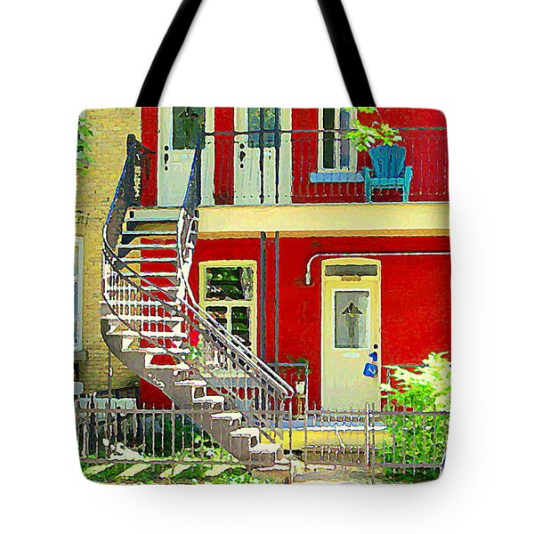 Art Of Montreal Upstairs Porch With Summer Chair Red Triplex In Verdun City Scene C Spandau Tote Bag by Carole Spandau