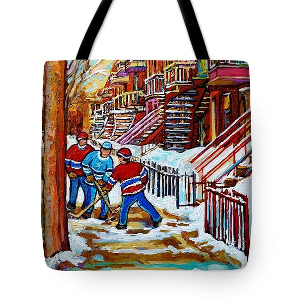 Art Of Verdun Staircases Montreal Street Hockey Game City Scenes By Carole Spandau Tote Bag by Carole Spandau