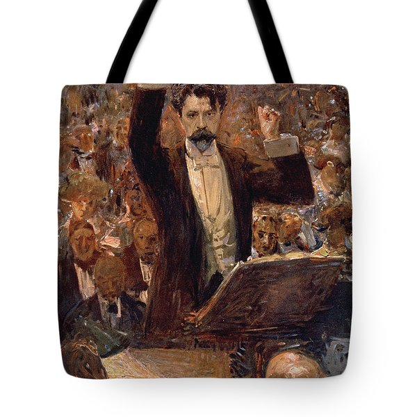 Arthur Nikisch Conducting A Concert At The Gewandhaus In Leipzig Tote Bag by Robert Sterl