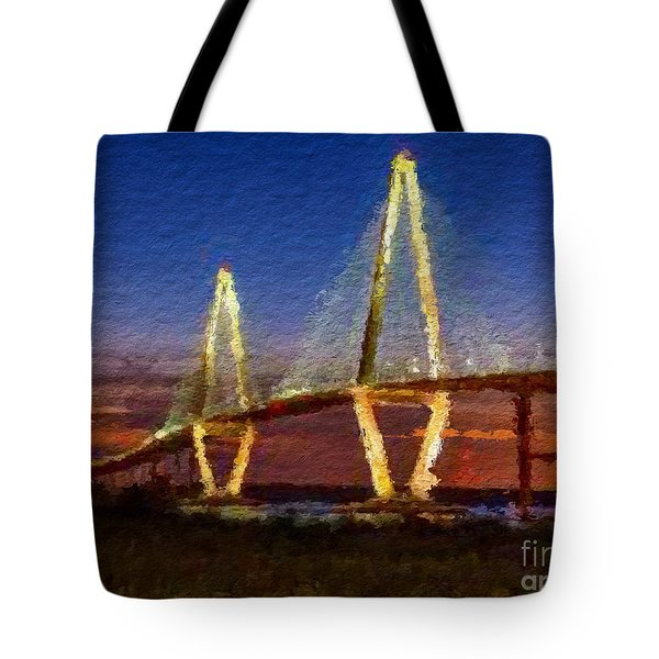 Arthur Ravenel Bridge At Evening  Tote Bag