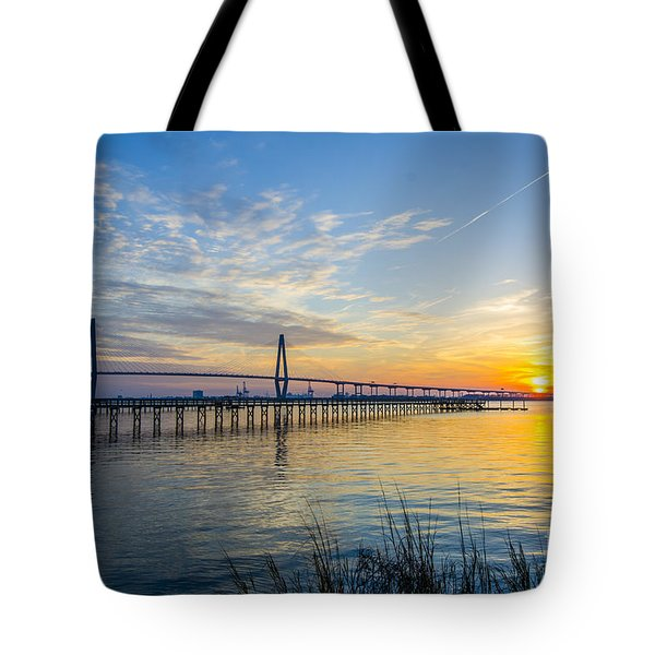 Tote Bag featuring the photograph Calm Waters Over Charleston Sc by Dale Powell