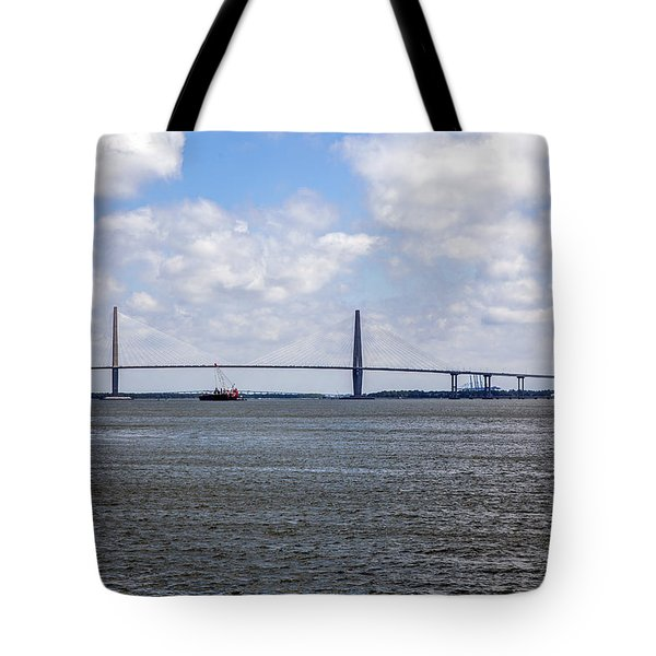Tote Bag featuring the photograph Arthur Ravenel Bridge by Sennie Pierson