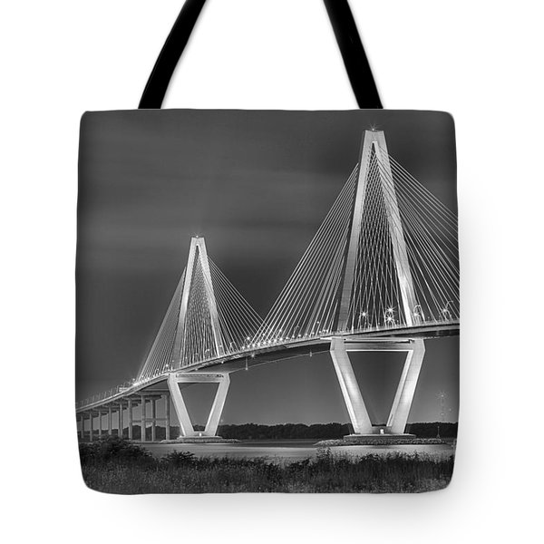 Arthur Ravenel Jr. Bridge In Black And White Tote Bag