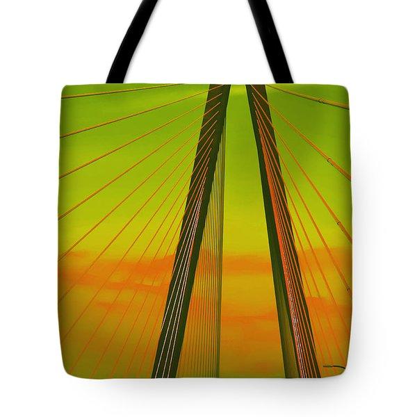 Arthur Ravenel Jr Bridge V Tote Bag by DigiArt Diaries by Vicky B Fuller