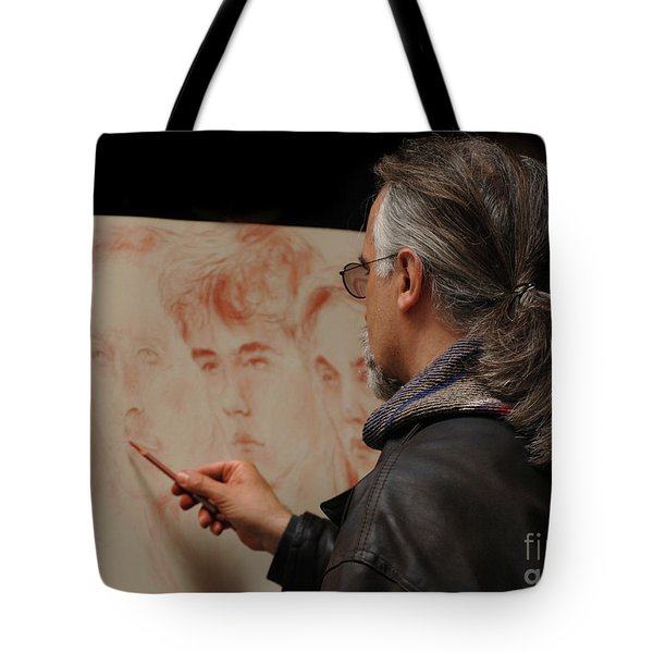 Artist At Work Florence Italy Tote Bag by Bob Christopher