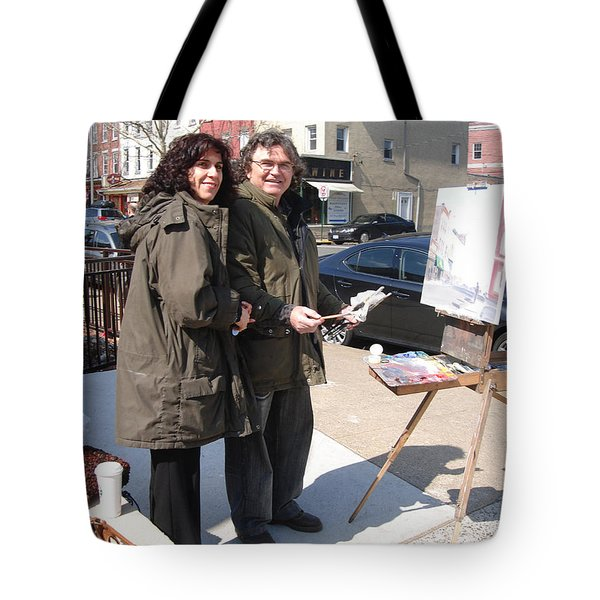 Artist At Work Main St Nyack Ny Tote Bag