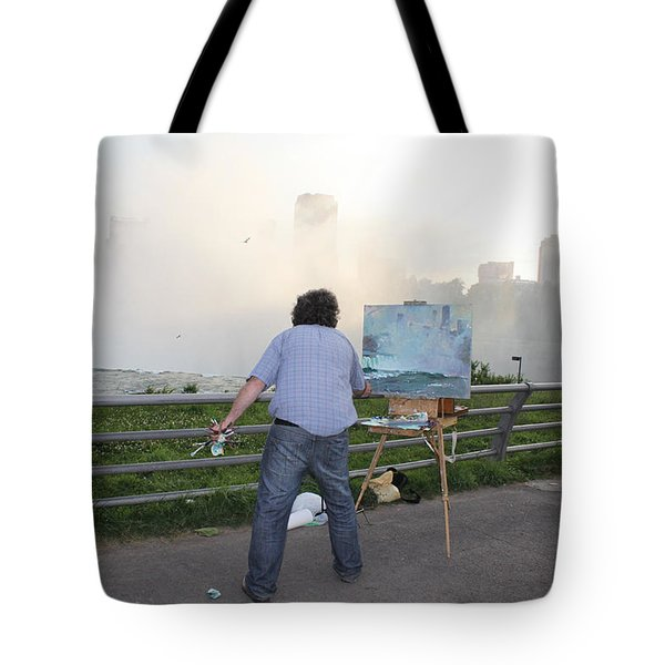 Artist At Work Niagara Falls Ny Tote Bag