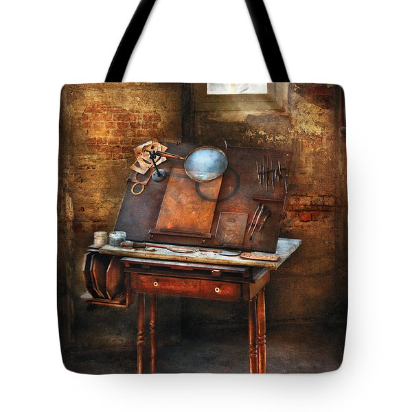 Artist - The Etching Table Tote Bag by Mike Savad