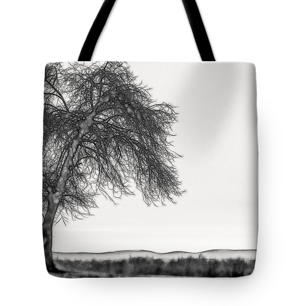 Artistic Black And White Sunset Tree Tote Bag