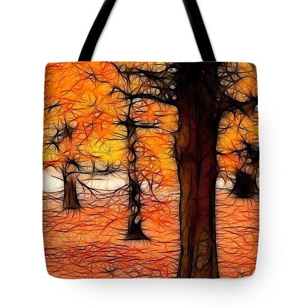 Artistic Fall Trees Tote Bag
